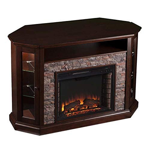 Pemberly Row Corner LED Fireplace 50' TV Stand in Espresso
