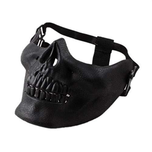 XWYWP Máscara de Halloween Máscara de miedo Máscara de Halloween Cráneo Esqueleto Máscara de Medio Cara Mascarillas para Fiesta Cospaly Negro