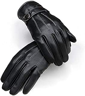[T-19652]Men Warm Lined Leather Gloves Skiing Cycling Driving Riding Comfort