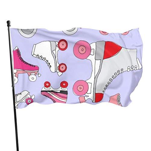 MaoMaoYongHui Schöne Flagge für draußen,Pink Retro Rollschuh Schuhe Yard Flags, Langlebig,Polyester,3X5 Ft
