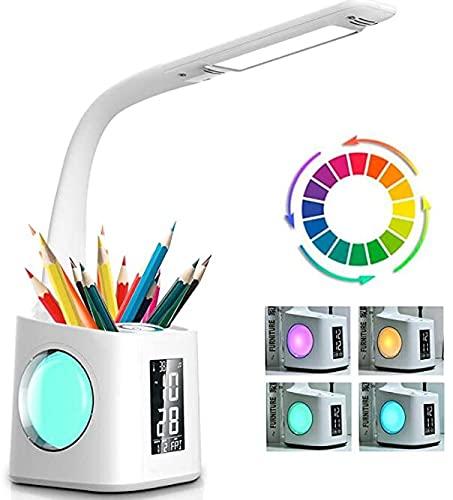 Lámpara de Escritorio LED con Portalápices, 10W Lámpara de Mesa Regulable con Pantalla LCD, Luz de Noche 3 Niveles de Brillo y 256 Colores de Luz RGB Control Táctil y Carga USB para Estudiar y Dormir