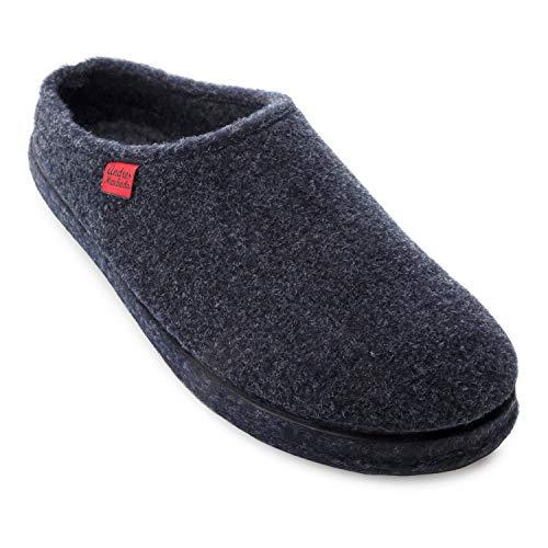 Andrés Machado - Hausschuhe für Damen/Herren für Sommer und Winter - Unisex Slipper - AM001 - Pantoffeln aus Filz mit Rutschfester Gummisohle - Marineblau EU 44