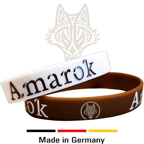 AMAROK Armband Alpha-Wolf für Damen & Herren Silikonarmband | Fitness-Armband | Kampfsport-Armband | Echte Motivation (2 Stück)
