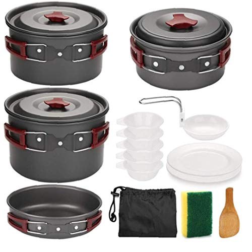 Sanfiyya Estufa de Camping Juego de Utensilios de Picnic al Aire Libre Conjunto de Cook Set de Picnic portátil Ultraligero Doblar Utensilios de Cocina Pan 5-6 Personas para cocinar Rojo