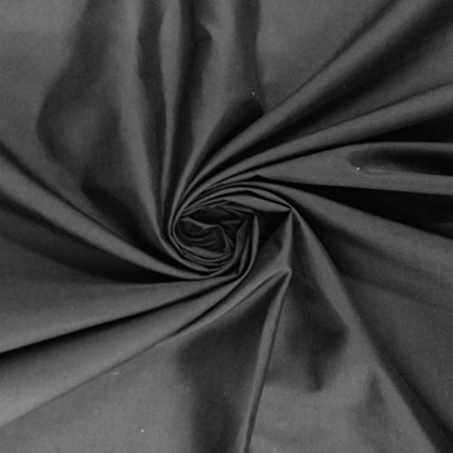 Tejido liso en 100 % algodón, 150 cm de ancho por metro, algodón, negro, 100 x 150 centimeters