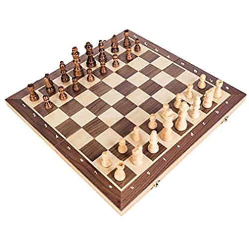 TraveT 3 in 1 Wooden Chess Set - Best Travel Portable Folding Chess Board Game - Beginner Learning Teaching Toys for Adults Teens Kids Girls Boys