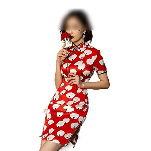 Qipao Chi Pao Moderno Cheongsam Rojo Blanco Chi Pao Diario Corto Chino Vestido de Novia Vintage Ropa de Seda Año Nuevo