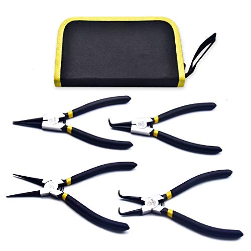4 PCS 7-Inch Snap Ring Pliers Set Internal/External Circlip Pliers Kit Straight/Bent Jaw Pliers forC-Clip Pliers Ring Remover Retaining with Storage Pouch