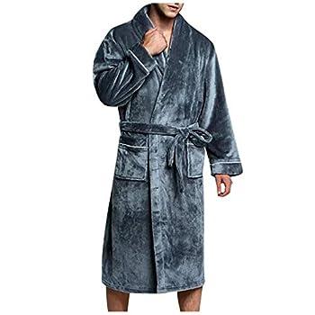 Threecows Men's Fleece Bath Robe – Velvet Shower Robe – Soft Warm Kimono Robes with Belt for Spa Shower