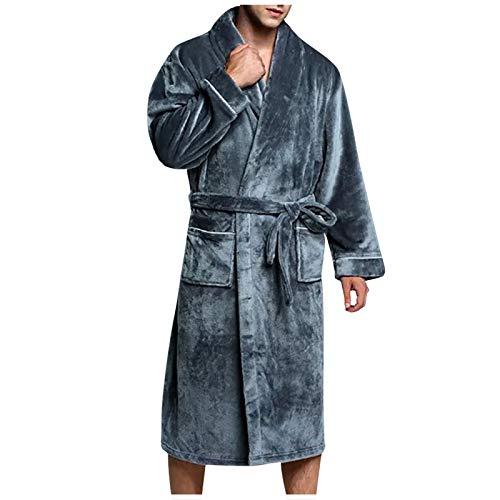 Pijamas Hombre Invierno Suaves, Albornoz de Felpa Alargada Ropa para el Hogar Bata de Manga Larga Abrigo Bata De Estar En Casa Regalos Originales para Hombre riou