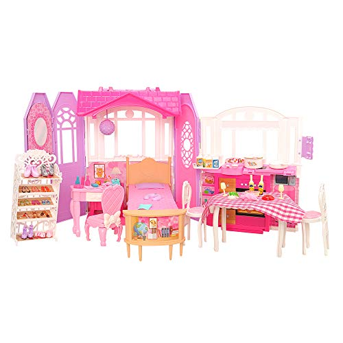 Barwa バービー用ハウス 人形用ハウス クリスマス プレゼント 誕生日 ギフト ドールハウス (78セット)