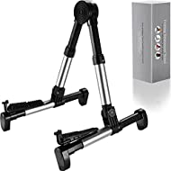 Guitar Stand for Acoustic/Electric/Classical Guitars and Violin, Ukulele, Bass, Banjo, Mandolin -Folding, Portable & Lightweight- Fits Gibson/Fender/Taylor/Yamaha (Metallic Silver)