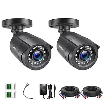 ZOSI 2 Pack 2MP 1080p HD-TVI Home Security Camera Outdoor Indoor 1920TVL 24PCS LEDs 80ft Night Vision 90°View Angle Weatherproof Surveillance CCTV Black Bullet Camera  2AK-1062B-BS-US
