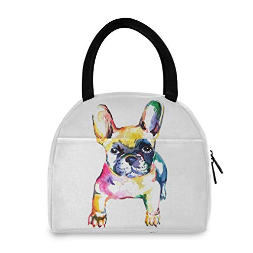 YiGee Frenchie Bulldog Lunch Bag Tote Bag, Insulated Organizer Zippered Lunch Box Lunchbox Lunch Container Handbag for Women Men Home Office Picnic Beach Use