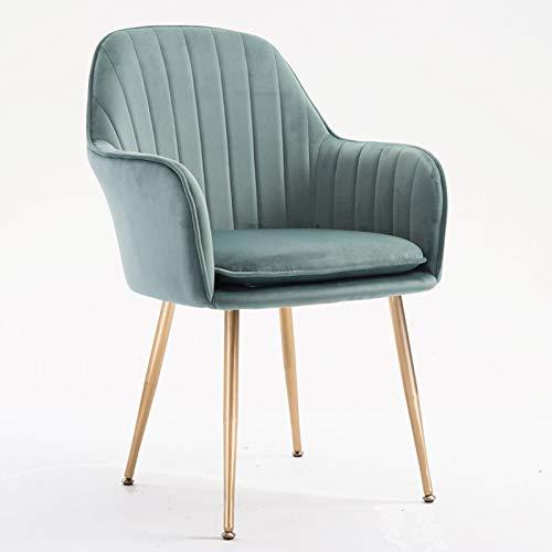 ADGEAAB Sillas de comedor de terciopelo suave con reposabrazos y respaldo, comedor, hotel, sala de estar, estudio, silla de salón (color verde claro)