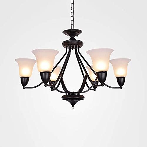 LLLKKK Lámpara colgante industrial vintage con pantalla de cristal transparente, moderna lámpara de araña para comedor, dormitorio, lámpara de techo (color: 3 luces)