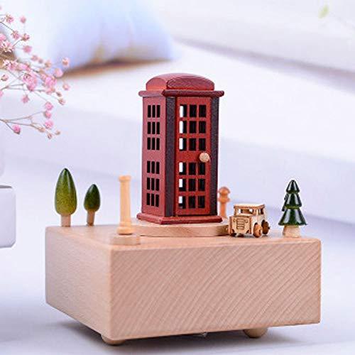 Sebasty Ornamente Moderne Minimalistischen Musik-Box Aus Massivem Holz Protokolliert Rote Telefonzelle Eingerichtet Geschenke Nach Hause Auto Musikbox Bewegt Verzierungen Personalisierte Geburtstagsge