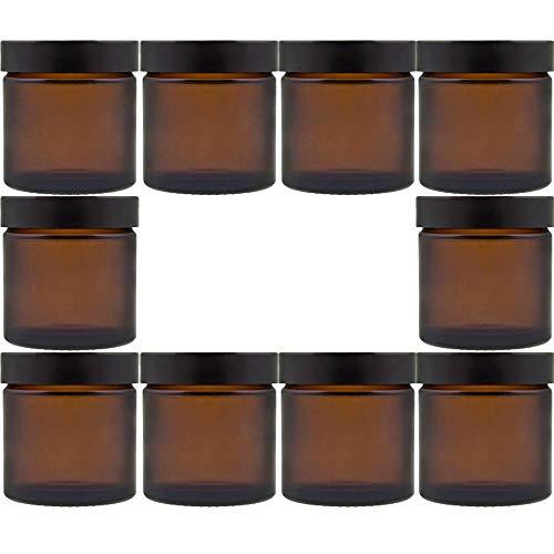 10 kleine Glastiegel/Salbentiegel/Cremetiegel aus Braunglas 60 ml inkl. Etiketten