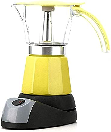 AMAZACER Portable Electric Coffee Machine Stainless Steel Espresso Mocha Coffee Maker Pot for Home Kitchen Tools 150/300Ml 6 Cups Variety of Colors,stainlesssteel (Color : Yellow)