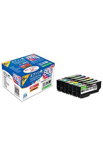 【Amazon.co.jp限定】レイワインク エプソン(Epson) IC6CL80L 対応 増量 リサイクルインク 日本製JIT-NE80L6P