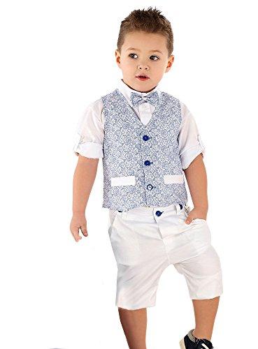 Boutique-Magique Costume Enfant garçon Mariage baptême Blanc et Bleu Royal,8 ans,Bleu Roy