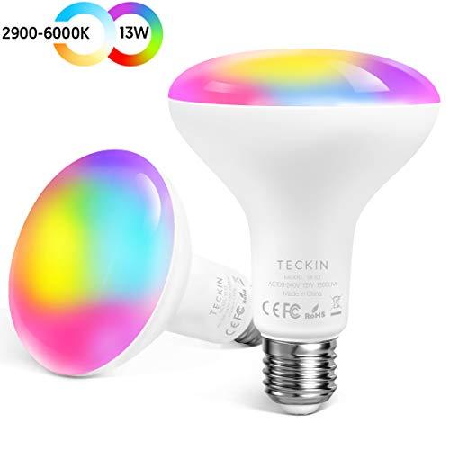 TECKIN Bombilla inteligente LED WiFi ajustable y lámpara multicolor Funciona con Alexa,E27 100W Echo,Google Home y IFTTT,RGB equivalente 13W bombilla de cambio de color,2 paquetes
