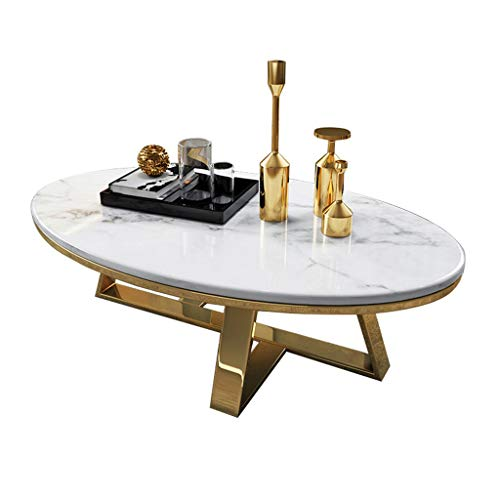 High-Grade Furniture Coffee Table Oval Faux Marble End Table with Gold Metal Frame,for Couch Bedside Home Bedroom,L:80cm x W:50cm x H:45cm