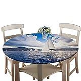 Morbuy Abwaschbar Tischdecke Rund Antifouling Wasserdicht Pflegeleicht Tischtuch Mit Elastische Kante Knitterfrei Wischbar Für Terrasse Innen- Draussen Esstisch (Ozean,90cm)