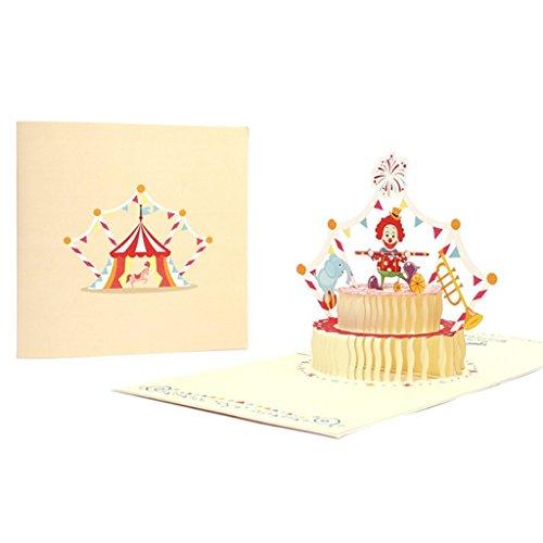 PT-KMKMING Personality Fun 3D Pop -up Clown Cake Greeting Card, Valentinstag Happy Birthday Jubiläum Grußkarte, Geeignet Für Hochzeitsfest Mystery Beautiful to Friends Greeting Card