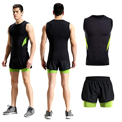 MNNE Herren Sportanzüge Summer Sports Fitness Stretch Enge Enge Schnell Trocknend ärmelloses Shirt Shorts Anzüge Laufhose Fitness-Anzüge Green-XXXL