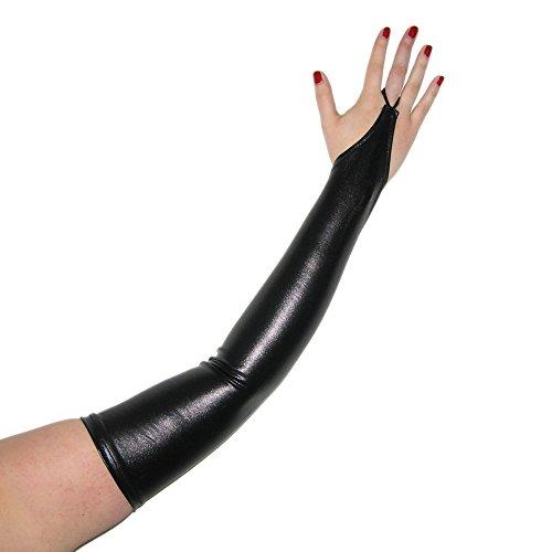 Rubberfashion Lange Wetlook Handschuhe, Gothic Handschuhe bis zum Oberarm mit beschichteter Oberfläche für Frauen und Herren Menge: 1 Paar metallic Schwarz XXL