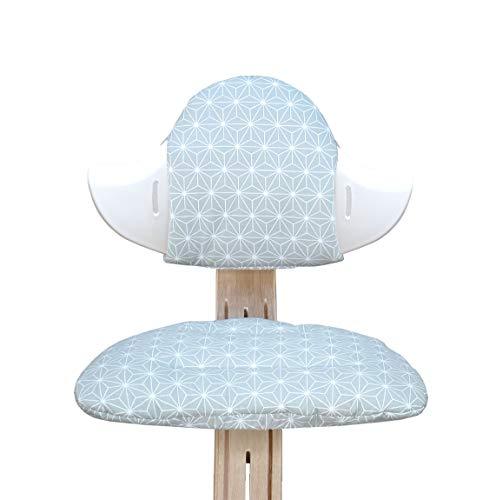 Blausberg Baby - BESCHICHTET - Sitzkissen Set für Nomi Hochstuhl von Evomove - Happy Star Grün