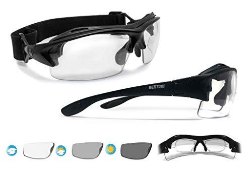 BERTONI Sportbrille mit Sehstärke für Brillenträger Selbsttönend Antibeschlag UV Schutz Gläsern und mit Austauschbare Bügel oder Kopfband (Matt Schwarz - Photochrome Gläser)