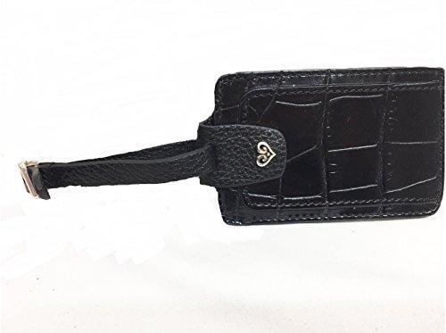 Brighton B Wishes Black Embossed Leather Luggage Tag