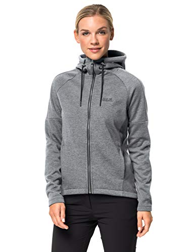 Jack Wolfskin Damen Fleece-sweatshirt Sky Thermic Hooded Jkt, medium grey, L, 1706651-6205004