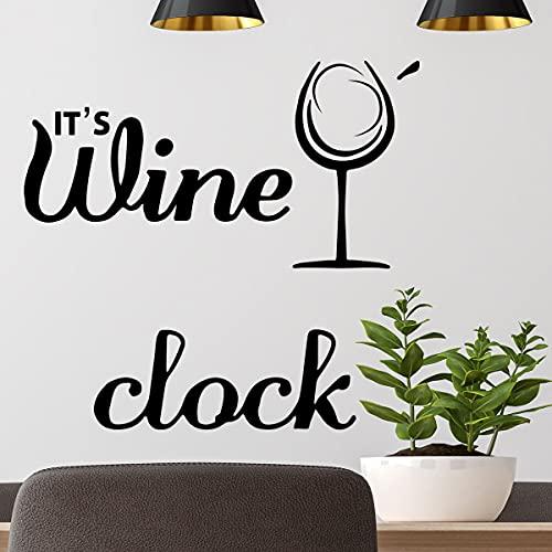YCYY Nuevo inglés Creativo es Vino Copa de Vino autoadhesiva Cocina Decorativa Pasta de Pared Pvc29 * 80Cm