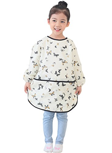 Plie Kids Art Smocks, Children Waterproof Artist Painting Aprons Long Sleeve with Pockets, Butterfly Print (38-L)