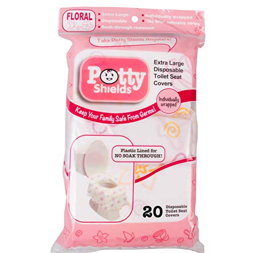 Disposable Toilet Seat Covers for Kids & Adults, 20 Pack - Protect from Public Toilet Germs While Potty Training & More - Extra Large, Waterproof, Portable, Individually Wrapped - Pink/Floral
