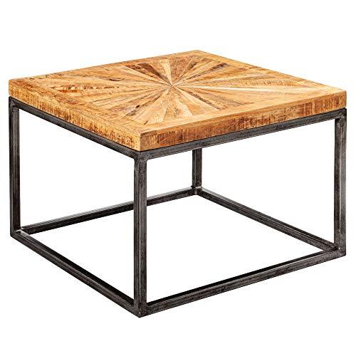 FineBuy Couchtisch Mango Massivholz 55x40x55 cm Tisch mit Metallgestell   Wohnzimmertisch Quadratisch im Industrial Design   Massiver Sofatisch Modern