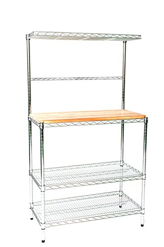Omega 18″ Deep x 36″ Wide x 74″ High Deluxe Chrome Bakers Rack with Top Shelf & Butcher Block
