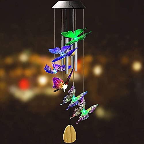 KLDDE Solar Wind Play with Color Change Mobile Windlight per la casa, Vento Play Solar Hummingbird Giochi eolici Fuori, Giardino, Decorazione, Ornamenti, Farfalla e Fiore