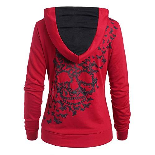 2021 Printemps Hiver Sweat à Capuche Femme Mode Imprime Tête de Mort Manches Longues Chaud Manches Longues Sweatshirt Poches Hoodies Outerwear À Capuche Tops (Rouge, XL)