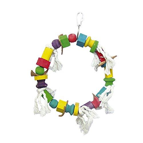 ICA BR160 Houten speelgoed met ring en parels meerkleurig voor vogels
