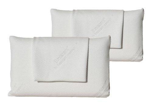 Visko Schlafkissen-Kopfkissen-HWS Kissen/Kissen aus viscoelastischem Gel-Schaum - Überzug Tencel mit Neutraliser-Therapy; ca. 80x40x12cm (2 Kissen - 2 Überzüge)