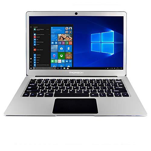 Portátil Thomson NEOX de 13,3 Pulgadas con Intel Celeron N3350, 4 GB de RAM, 64 GB de Almacenamiento y Windows 10 - Gris Aluminio
