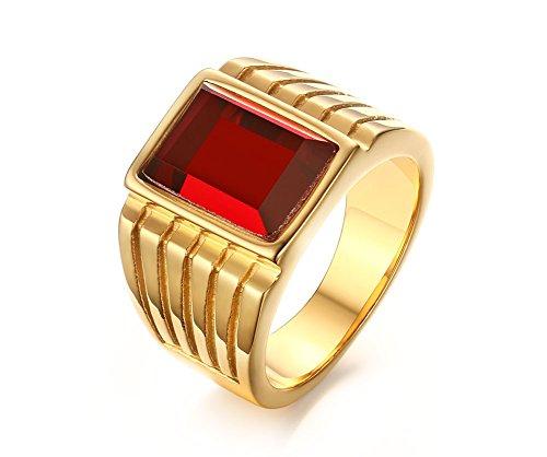 VNOX Anillo de Oro de la Boda de la joyería de la Piedra Preciosa del Cuadrado Rojo del Acero Inoxidable de los Hombres