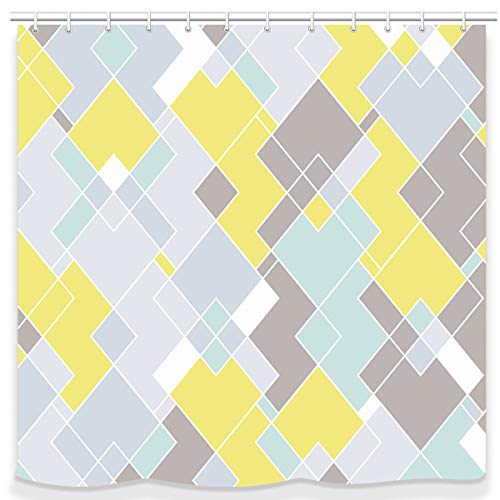 UNIFEEL Modern Design Irregular Rhombus Fabric Shower Curtains Bathroom Décor Curtain Yellow, Green, Gray