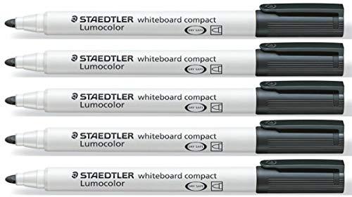Staedtler Lumocolor Compact Schwarz Whiteboard, Trocken Abwischbar, 341 Marker Stifte, 5 Stück, Trocken Abwischbar, 341