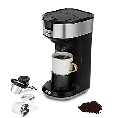 Coffee Maker and Tea Brewing System, Single Serve Coffee Maker Brewer for Single Cup Pod, Ground Coffee &Tea, 4-IN-1 Fast Brewing Coffee Machine with Height regulator, 6 to 14 oz. Brew Sizes, Black