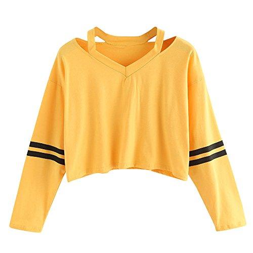 Mujer Sudaderas Cortas Adolescentes Chicas Manga Larga Sudadera con Cuello en V Casual Tops Blusas Camiseta (Amarillo, Small)
